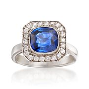 C. 2000 Vintage 3.18 Carat Sapphire and .75 ct. t.w. Diamond Ring in Platinum. Size 7.5