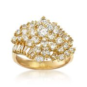 C. 1980 Vintage 2.10 ct. t.w. Diamond Cluster Ring in 18kt Yellow Gold. Size 7.5