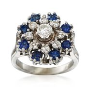 C. 1980 Vintage .80 ct. t.w. Sapphire and .65 ct. t.w. Diamond Cluster Ring in 14kt White Gold. Size 5.25