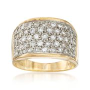 C. 1980 Vintage 1.10 ct. t.w. Pave Diamond Ring in 18kt Yellow Gold. Size 8
