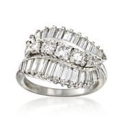 C. 1990 Vintage 1.80 ct. t.w. Baguette and Round Diamond Ring in Platinum. Size 6