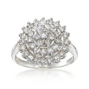 C. 1990 Vintage 1.05 ct. t.w. Diamond Cluster Ring in 14kt White Gold. Size 7.5