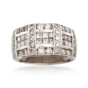 C. 1980 Vintage 1.75 ct. t.w. Princess-Cut and Round Diamond Ring in 18kt White Gold. Size 5