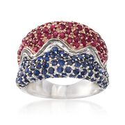 C. 1980 Vintage 2.60 ct. t.w. Ruby and Sapphire Ring in 14kt White Gold. Size 6.5