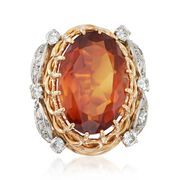 C. 1960 Vintage 11.50 Carat Citrine and 1.10 ct. t.w. Diamond Ring in 18kt Two-Tone Gold. Size 5.5
