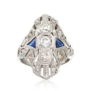 C. 1930 Vintage .60 ct. t.w. Diamond and .25 ct. t.w. Synthetic Sapphire Dinner Ring in 18kt White Gold. Size 4.5
