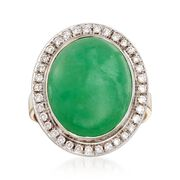 C. 1990 Vintage Jade and .45 ct. t.w. Diamond Ring in 18kt Two-Tone Gold. Size 6.25