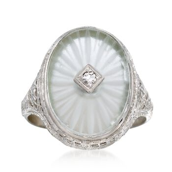 C. 1950 Vintage Rock Crystal Ring With Diamond Accents in 14kt White Gold. Size 5.75