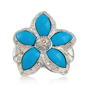 C. 1990 Vintage Turquoise and .15 ct. t.w. Diamond Flower Ring in 18kt White Gold. Size 6.5