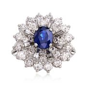 C. 1980 Vintage 1.28 Carat Sapphire and 2.40 ct. t.w. Diamond Cluster Ring in Platinum. Size 4.5