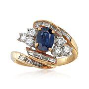 C. 1970 Vintage .80 Carat Sapphire and 1.30 ct. t.w. Diamond Ring in 18kt Yellow Gold. Size 6