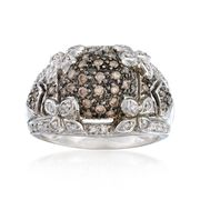 C. 1990 Vintage .85 ct. t.w. Brown and White Diamond Floral Ring in 14kt White Gold. Size 7