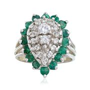 C. 1980 Vintage .65 ct. t.w. Diamond and .95 ct. t.w. Emerald Ring in 18kt White Gold. Size 4.25