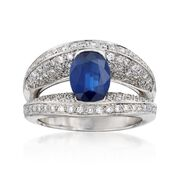 C. 2000 Vintage 1.95 Carat Sapphire and 1.10 ct. t.w. Diamond Ring in 14kt White Gold. Size 8