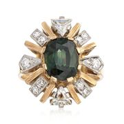 C. 1990 Vintage 1.80 Carat Green Tourmaline and .75 ct. t.w. Diamond Ring in 18kt Yellow Gold. Size 6