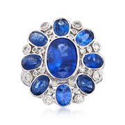C. 2000 Vintage 5.20 ct. t.w. Sapphire and .50 ct. t.w. Diamond Dome Ring in 18kt White Gold. Size 6.5