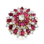 C. 1960 Vintage 2.75 ct. t.w. Ruby and 1.50 ct. t.w. Diamond Cluster Ring in 14kt Yellow Gold. Size 8