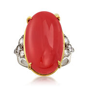 C. 1960 Vintage Coral and .40 ct. t.w. Diamond Ring in 14kt Two-Tone Gold. Size 7