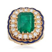 C. 1960 Vintage 3.90 Carat Emerald and .90 ct. t.w. Diamond Ring With Blue Enamel in 14kt Yellow Gold. Size 5.5