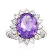 C. 1980 Vintage 3.90 Carat Amethyst and 1.15 ct. t.w. Diamond Ring in 18kt White Gold. Size 7
