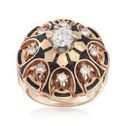 C. 1970 Vintage 1.15 ct. t.w. Diamond and Black Enamel Dome Ring in 14kt Yellow Gold. Size 6