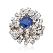 C. 1960 Vintage 1.78 Carat Sapphire and 1.75 ct. t.w. Diamond Cluster Ring in 14kt White Gold. Size 5