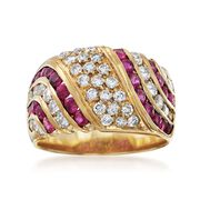 C. 1980 Vintage 1.10 ct. t.w. Ruby and 1.10 ct. t.w. Diamond Wide Ring in 18kt Yellow Gold. Size 6.5