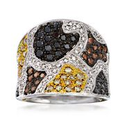 C. 2000 Vintage 1.56 ct. t.w. Multicolored Diamond Animal Print Ring in 14kt White Gold. Size 7