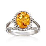 C. 1990 Vintage 2.08 Carat Citrine and .50 ct. t.w. Diamond Ring in 14kt White Gold. Size 6.5