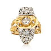 C. 1980 Vintage 1.00 ct. t.w. Diamond Leaf Dinner Ring in 18kt and 24kt Gold. Size 7