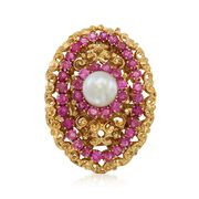 C. 1970 Vintage 7mm Cultured Pearl and 1.60 ct. t.w. Ruby Ring in 18kt Yellow Gold. Size 10