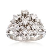 C. 1980 Vintage 2.00 ct. t.w. Diamond Cluster Ring in 14kt White Gold. Size 9.75