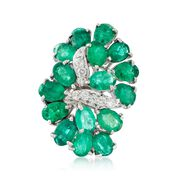 C. 1980 Vintage 8.25 ct. t.w. Emerald and .35 ct. t.w. Diamond Cluster Cocktail Ring in 14kt White Gold. Size 6.25