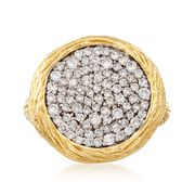 C. 1990 Vintage .90 ct. t.w. Diamond Circle Ring in 14kt Yellow Gold. Size 7
