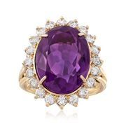 C. 1980 Vintage 9.65 Carat Amethyst and 1.10 ct. t.w. Diamond Ring in 18kt Yellow Gold. Size 6.5