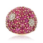 C. 1960 Vintage 6.00 ct. t.w. Ruby and .30 ct. t.w. Diamond Ring in 14kt Yellow Gold. Size 4.5