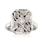 C. 1950 Vintage .12 ct. t.w. Diamond Milgrain Ring in 14kt White Gold. Size 7.75