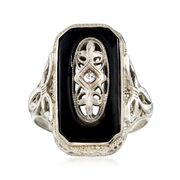 C. 1950 Vintage Black Onyx Ring With Diamond Accents in 14kt White Gold. Size 6.25