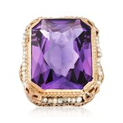 C. 1950 Vintage 16.00 Carat Amethyst and 1.5mm Cultured Pearl Ring in 14kt Yellow Gold. Size 6