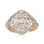 C. 1950 Vintage .52 ct. t.w. Diamond Filigree Openwork Dome Ring in Platinum and 14kt Gold. Size 5.75