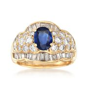 C. 1990 Vintage 1.10 Carat Sapphire and 2.40 ct. t.w. Diamond Cluster Ring in 18kt Yellow Gold. Size 6.75