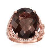 C. 1990 Vintage 15.75 Carat Smoky Quartz and .25 ct. t.w. Diamond Ring in 14kt Rose Gold. Size 7