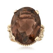 C. 1960 Vintage 17.85 Carat Smoky Quartz Ring in 10kt Yellow Gold. Size 4.5