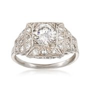 C. 2000 Vintage 1.54 ct. t.w. Certified Diamond Ring in Platinum. Size 6