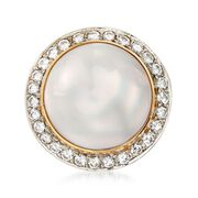 C. 1980 Vintage 17mm Mabe Pearl and 1.15 ct. t.w. Diamond Dome Ring in 14kt Yellow Gold. Size 5.5