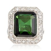 C. 1960 Vintage 9.35 Carat Green Tourmaline and .80 ct. t.w. Diamond Frame Ring in Platinum. Size 6