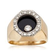 C. 1970 Vintage Black Onyx and .35 ct. t.w. Diamond Ring in 14kt Yellow Gold. Size 8
