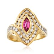 C. 1980 Vintage .35 Carat Ruby and 1.00 ct. t.w. Diamond Ring in 18kt Yellow Gold. Size 6.75