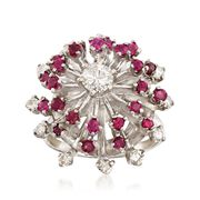 C. 1970 Vintage .85 ct. t.w. Ruby and .70 ct. t.w. Diamond Spray Cluster Ring in 14kt White Gold. Size 6