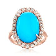 C. 1930 Vintage Simulated Turquoise and .55 ct. t.w. Diamond Ring in 14kt Rose Gold. Size 5.25